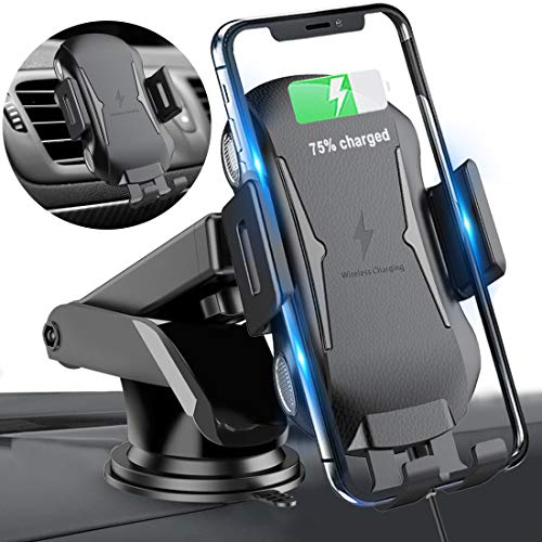 Homder Automatic Clamping Wireless Car Charger Mount, 10W/7.5W Qi Fast Charging Car Phone Holder,Windshield Dashboard Air Vent Compatible with iPhone Xs/Max/X/XR/8/8 Plus,Samsung Note (1)