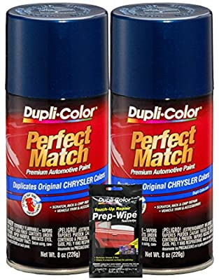 Dupli-Color Patriot Blue Metallic Perfect Match Automotive Paint for Chrysler Vehicles (8 oz.), Bundles with Prep Wipe (3 Items).