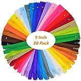 Cremalleras de Costura,Cremalleras de Colores,25 Colores Mixtos Cremalleras de Nylon, para Costurar Almohadas, Ropa, Falda, Pantalones,Sastre Artesanias de Costura 23CM