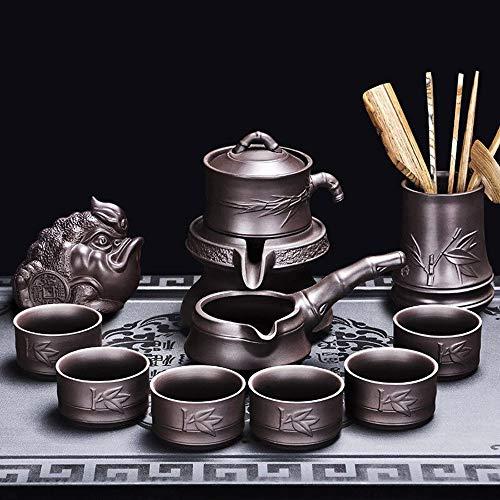 HGFDSA Juego de té para adultos, juego de té tradicional automático de Kung-fu, tetera tradicional de molino de piedra con colador, ceremonia de té, accesorios de madera + mascota de té