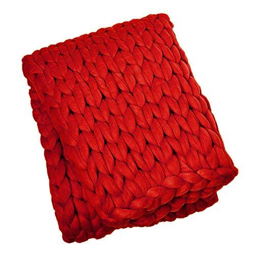WCX Manta De Punto Grueso Merino Mezcla De Lana Brazo Tejido De Punto Hilo De Tejer A Mano Súper Manta Sofá De Punto Grueso Manta De Estera De Yoga (Color : Red, Size : 120x180cm)