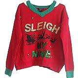 ChangHua1 Pareja Lentejuelas Cartas de Bell Hermana Año suéter suéter de Navidad (Color : Red,...