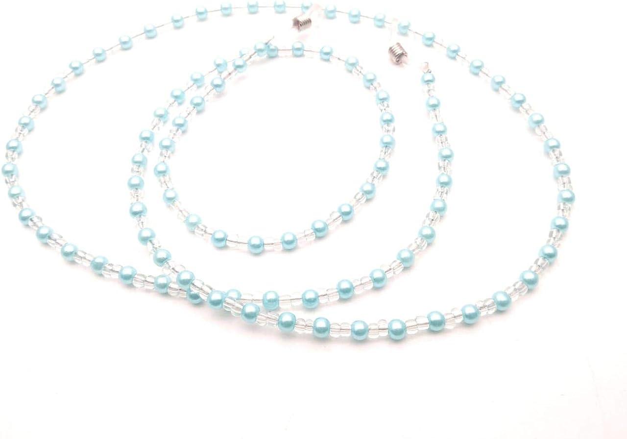 RSINC Eyeglasses Chain Holder Imitation Sea Green Color + White Color (Pearl) Beaded Spectral Cord Non-Slip Sunglass Chain Metal Alloy Holder Cord 80cm For Men, Women, Children