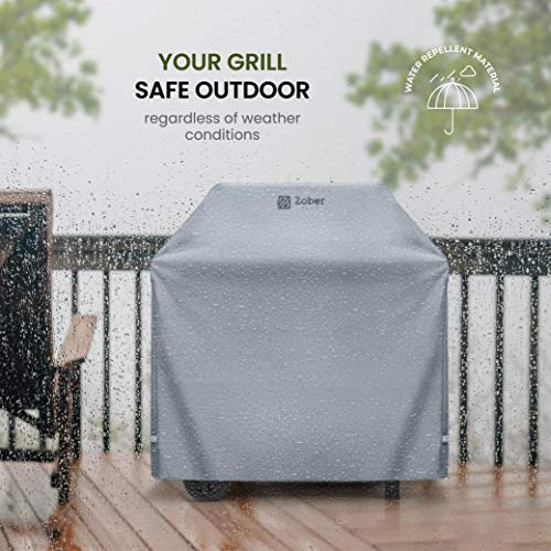 ZOBER All-Weather Premium BBQ Cover (64″ – 162cm)- Double-Layer 600D Oxford Fabric – 100% Waterproof Gas Barbecue Cover With Covered Air Vents – Large Grill Cover Featuring Dual Handles & Straps