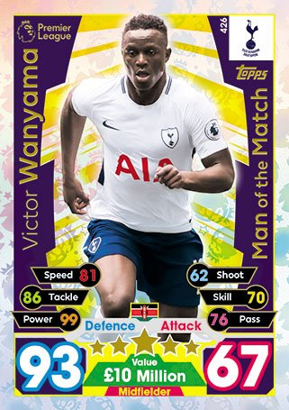 Match Attax 2017 / 18 Man of the Match Card # 426 Victorビクター・ワニアマ
