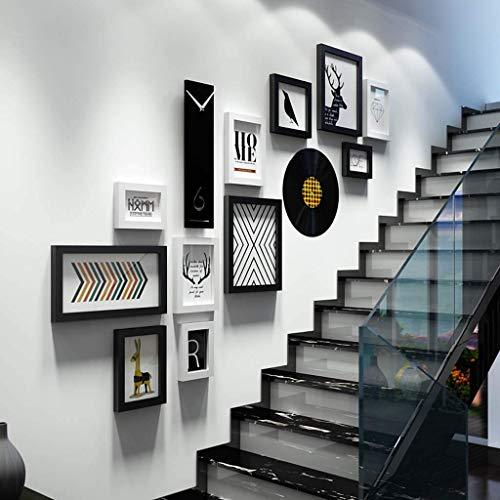 WLALLSS Marco Fotos Madera Maciza, Pared Fotos, escaleras, Pintura Decorativa Loft, puecambiar el Reloj Real la Foto, 11 Marcos Fotos y 2 Tipos Accesorios: Negro + Blanco