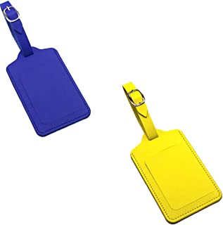 Luggage Tags PU Leather Luggage Identifiers with Name Address ID Label Inside_(1Yellow+1Navy)
