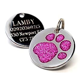Engraved 25mm Glitter DARK PINK Paw Shaped Pet ID Tag – In Stock and Supplied by Busy Bits