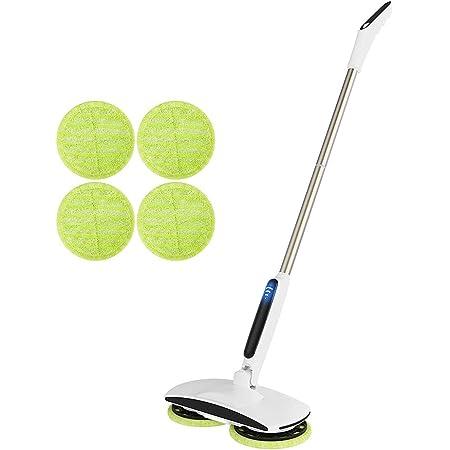 Le balai de vadrouille électrique rotatif sans fil convient au nettoyage et au polissage des sols carrelés dursGOBOT léger rechargeable double rotateur,équipé de 6 tampons en fibre et de lumières LED