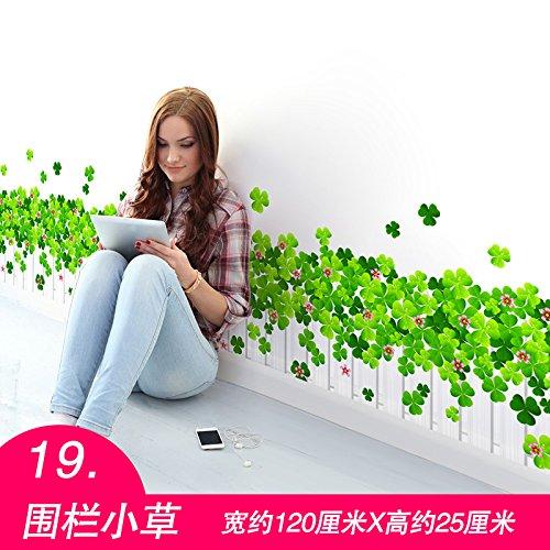 Wandaufkleber Wandtattoo Wohnzimmerhöhenanzeiger Wandaufkleber 3D 3D Cartoon Aufkleber, 19. Fechten Gras, Oversize