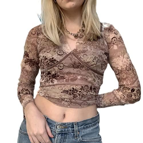 Camiseta de manga larga Y2k para mujer con gráficos vintage de los años 90 E-Girl Tops de moda estética,...
