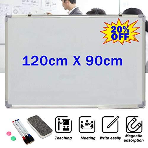 Tableau blanc magnétique effaçable à sec 120 cm x 90 cm avec cadre en aluminium avec 3 marqueurs et 2 aimants et 1 gomme, grand tableau blanc pour bureau, école