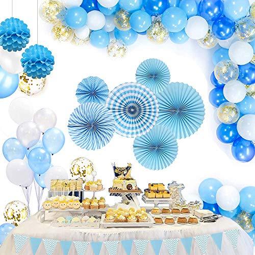 Caiery 65 Pezzi Palloncini Bianchi Blu Kit,55 Bianchi Blu palloncini &1 Bandierine triangolare & 6 Farfalla di Carta &2 pompon &100 balloon dots per Matrimonio, Compleanno, Laurea Festa Decorazioni