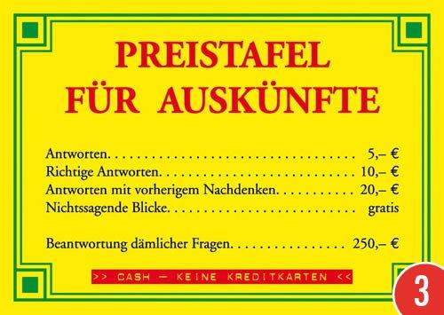 3er-Pack: Postkarte A6 +++ LUSTIG von modern times +++ PREISTAFEL FÜR AUSKÜNFTE +++ ECKI DESIGN