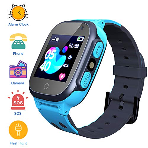 Jaybest Smartwatch para Niños, Reloj Inteligente para Niños con Linterna, SOS, LBS, Comunicación Bidireccional Cámara Chat de Voz, Reloj Infantil Regalo para Niño Niña de 3-12 Años (Blue)