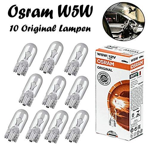 10x Osram Original W5W 12V T10 W2.1x9x5d 2825 Standard Ersatz Halogen Birne für Standlicht Positionslicht Bremslicht Hecklicht Innenlicht Leselicht Blinker seitlich E-geprüft