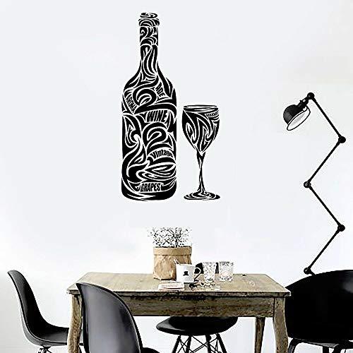 Dwzfme Adhesivos Pared Pegatinas de Pared Copa de Vino Botella Bar Vino Restaurante Bebida Cocina Vinilo Impermeable Bar Decoración Accesorios 80x42cm