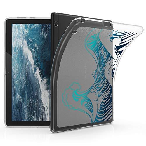 kwmobile Cover Compatibile con Huawei MediaPad T5 10 - Custodia Tablet in Silicone TPU - Copertina Protettiva Tab - Backcover - Onde Blu/Blu Scuro/Trasparente
