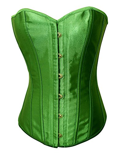 Chicastic Emerald Green Satin Sexy Strong Boned Corset Lace Up Overbust Bustier Bodyshaper Top - 5-6 XL
