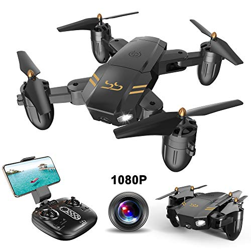 ScharkSpark Drone Guard for Beginners, Drone with 1080P FPV HD Camera/Video, Portable RC Quadcopter, 2.4G 6-Axis Headless Mode Altitude One Key Return 3D Flips and Rolls Toys