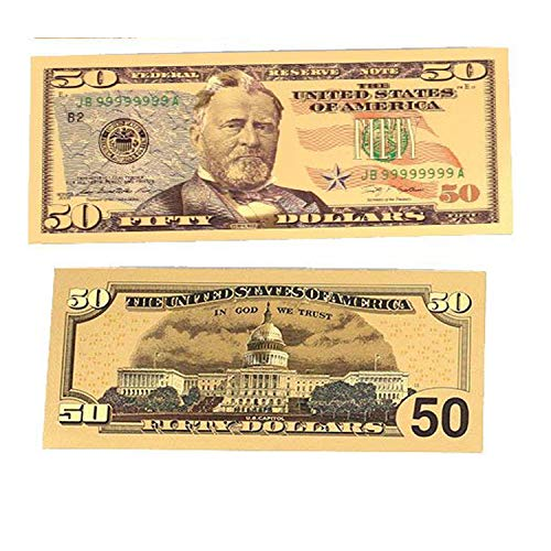 blinkee PDD12k-50D 50 American Dollar Bill 24k Gold Art Collectibles Plated Fake Banknote Currency for Decoration