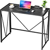 NOBLEWELL Computer <span class='highlight'><span class='highlight'>Desk</span></span>, No Assembly Folding <span class='highlight'><span class='highlight'>Desk</span></span>, Sturdy Small Laptop <span class='highlight'><span class='highlight'>Desk</span></span>, Wood Home Office <span class='highlight'><span class='highlight'>Desk</span></span> With L100 x W50 cm for Working, Study, Writing, etc. Black