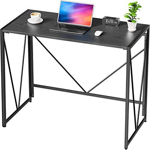 NOBLEWELL Schreibtisch klappbar, ohne Montage Computertisch im Industriedesign, Arbeitstisch mit stabilem Metallrahmen, perfekt für Heimbüro, 100 x 50 x 75 cm, Eiche schwarz Finish