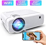 WiFi Ultra Mini Portable TV Projector for Outdoor Movies, Wireless Mirroring, 5500Lux, 1080P Supported, Compatible with TV Stick, PS4, DVD Players, iPhone, Android, Windows