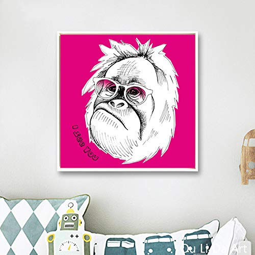 KWzEQ Dibujos Animados Lindo Animal Perro Gato Mono Lienzo impresión Pintura al óleo Lienzo hogar Pared Arte decoración60X60cmPintura sin Marco