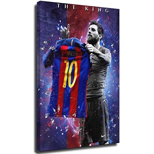 Lionel Messi - Póster de lienzo y pared para decoración de dormitorio familiar moderno de 40 x 60 cm