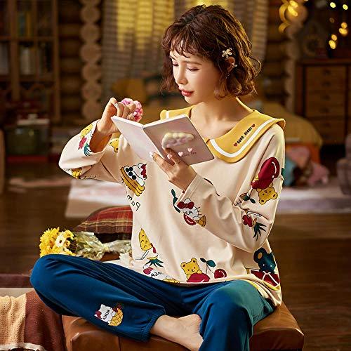 Wenhua Merry Style Schlafanzug Damen, Pyjama mit Rundhalsausschnitt aus Baumwolle,...