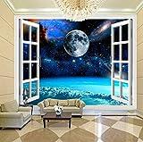 Wandtuch Tapete Wandbild Tapete Moderne Wohnzimmer Mural Schlafzimmer Kinderzimmer Tv Hintergrund Wand Dekoration,Fensterraum Planet Erde,400X280Cm