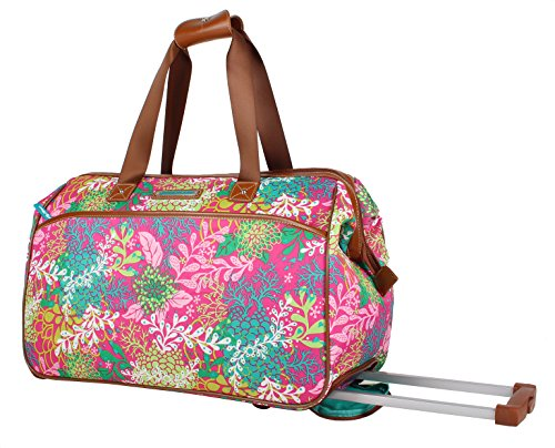 Lily Bloom Luggage Designer Pattern Suitcase Wheeled Duffel Carry On Bag (22in, Floral Reef)