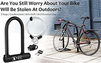 Road Bikes WESTLIGHT Bike U Lock D locks Shop Doors for MTB Motorcycle w//4-foot Flex Steel Cable Heavy Duty High Security Anti-Theft Bicycle U-shaped Locks Universal Bracket 2 Keys