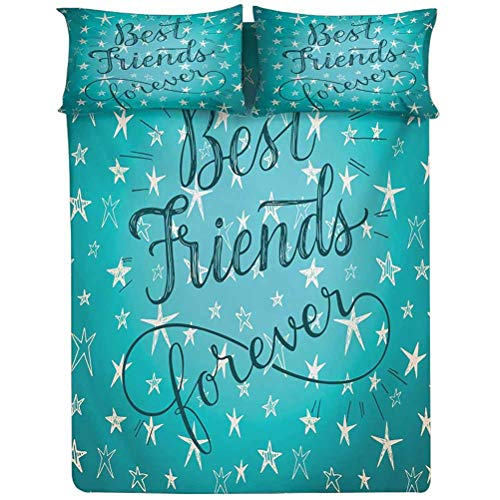 Quote Fitted Sheet King Size,Best Friends Forever Message on Scribbled and Hatched Stars Decorative Printed 2 Piece Bedding Decor Set,Elasticized Deep Pocket Fits Low Profile Foam and Tall Mattresses