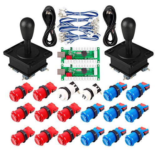 Arcade Spiel DIY-Teile für Mame USB Cabinet 2x Null Verzögerung USB Encoder + 2x 8-Wege-Klassiker Arcade Joystick + 18x Arcade-Taster 1p / 2p Start Push Button Blau + Rot Farbkits