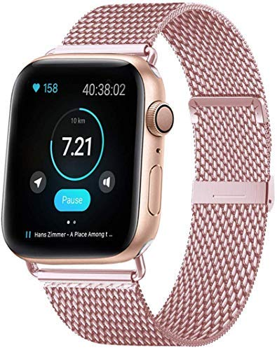 HILIMNY Compatible Correa para Apple Watch 38mm 40mm 42mm 44mm, Malla de Acero Inoxidable Correa de Bucle con, para iWatch Serie 5/4/3/2/1, Sport, Edition