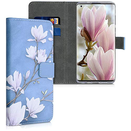 kwmobile Wallet Case Compatible with Motorola Edge (2020) - PU Leather Flip Cover with Card Slots and Stand - Magnolias Taupe/White/Blue Grey