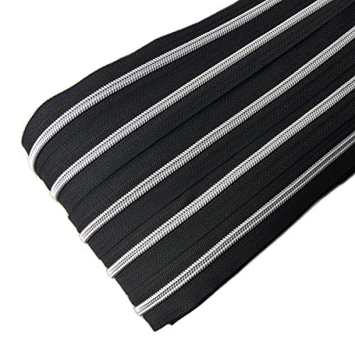 Schnoschi 6 m endlos Reißverschluss schwarz mit silberner 5mm Laufschiene + 15 Zipper, Spiralreißverschluss