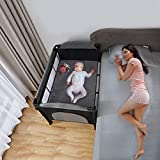 RIBONGZ Portable Playard with Mattress Baby Pack n Play Nursery Center for Infant Bedside Sleeper Bassinet