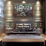 XURANFNAG Exquisite europäische und amerikanische Wandteppiche Belgische Wandteppiche Wandgemälde Wohndekorationen Europäische Pastorale Landschaft Wandbehänge, Gartenhäuser + Stangen + Stacheln