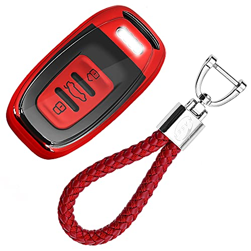 kaser Autoschlüssel Hülle für Audi – Cover TPU Silikon Hochglanz Schutzhülle Schlüsselhülle Fernbedienung Keyless für Audi A1 A2 A3 A4 A5 A7 Q1 Q3 Q5 TT Schlüsselbund (Rot)