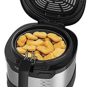 Tefal FF215D Uno M Friteuse (1600 W, Capacité : 1 kg, Thermostat réglable, Fenêtre, Position d'égouttage) Acier inoxydable/Noir