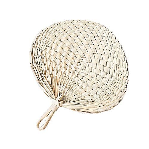 Abanico de mano de mano de estilo chino trenzado hecho a mano con hojas de palma de mano