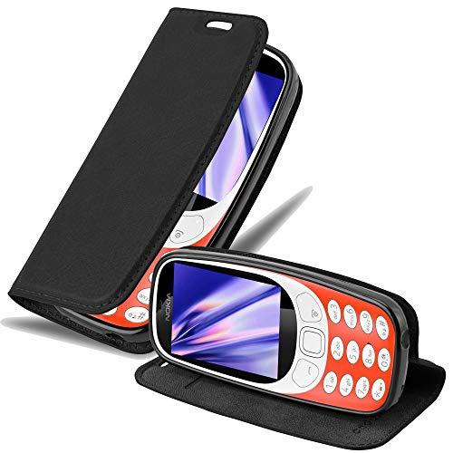 Cadorabo Hülle für Nokia 3310 in Nacht SCHWARZ - Handyhülle mit Magnetverschluss, Standfunktion & Kartenfach - Hülle Cover Schutzhülle Etui Tasche Book Klapp Style