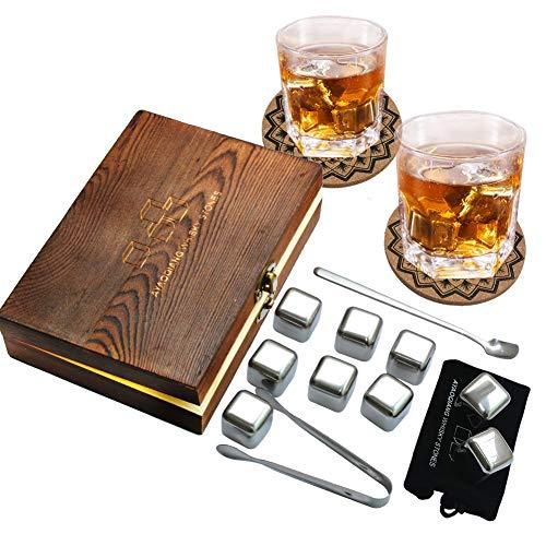 Whiskey Stones, herbruikbare Chilling roestvrijstalen Whiskey Rocks, ijskasten, set van 9, komen met roestvrijstalen tangen, opbergvak en stijlvolle onderzetters door AYAOQIANG