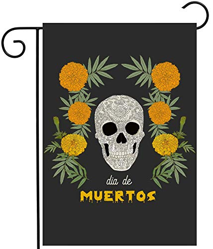 """ShineSnow Mexican Dia De Los Muertos Flower Sugar Skull Skeleton Garden Yard Flag 12""""x 18"""" Double Sided Polyester Welcome House Flag Banners for Patio Lawn Outdoor Home Decor"""