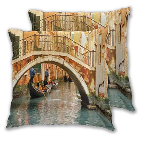 DECISAIYA Fundas de Cojines,Teleférico del Puente Antiguo de Venecia,Poliéste Funda de Almohada Cuadrado para Sofá Cama Decoración para Hogar,Set de 2,45x45cm