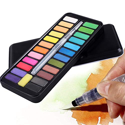 Fstaor 24 Colors Watercolour Paint with 1 Water Paint Brush, Portable Solid Watercolor Pigment Set for Artist Art Supplies Students Draw Painting Outdoor Perfect Gift