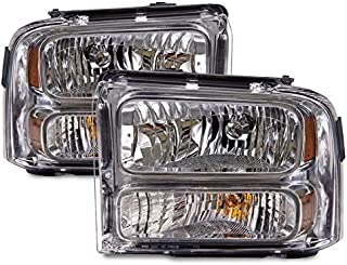 HEADLIGHTSDEPOT Headlight Chrome Housing Halogen Compatible with Ford Excursion F-250 Super Duty F-350 F-450 F-550 (Pair)